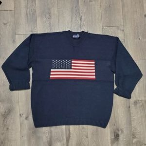 Vintage Heavy Knit Big Flag Pullover Sweater